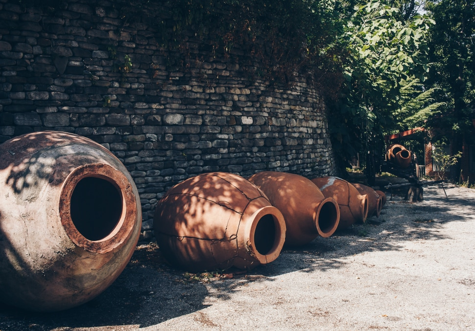 Clay vessels are still used in Georgian winemaking today.